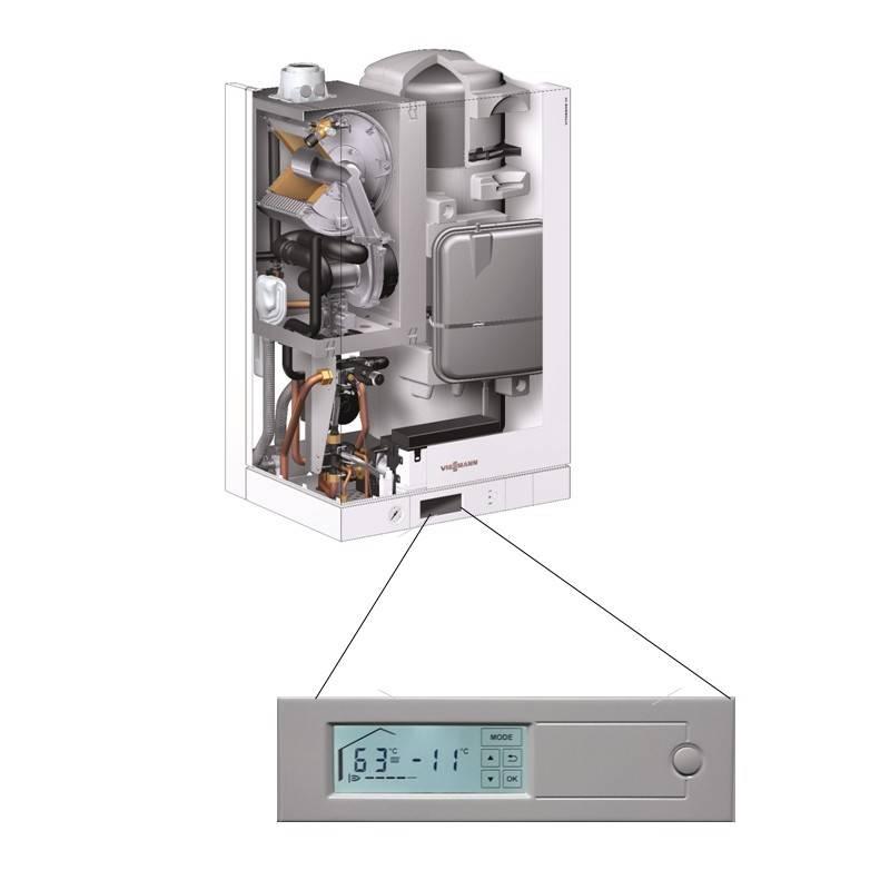 Poza Structura interna centrala termica in condensare cu touchscreen Viessmann Vitodens 111 W 26 kW B1LD116