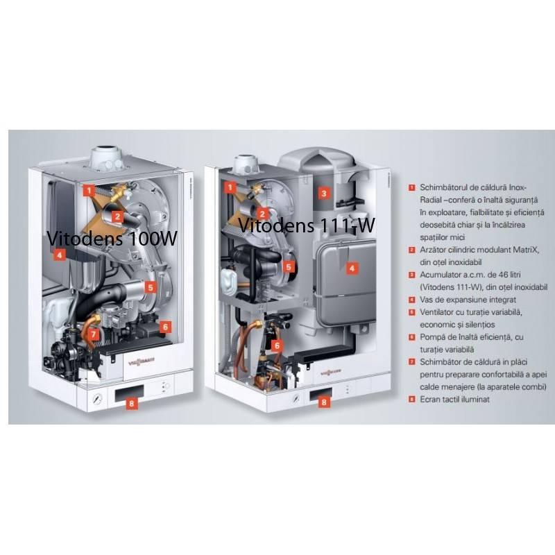 Poza Structura interna centrala termica in condensare cu touchscreen Viessmann Vitodens 100-W