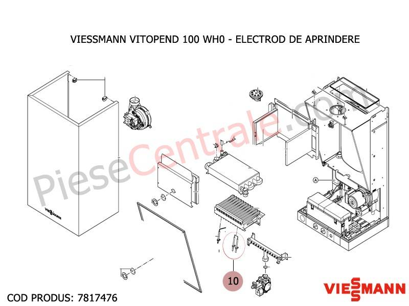 Poza Electrod de aprindere centrala termica Viessmann Vitopend 100 WH0