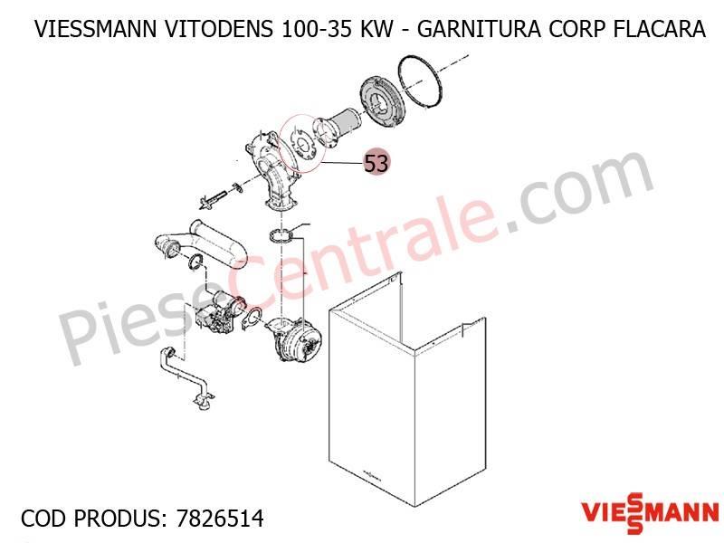 Poza Garnitura corp flacara centrala termica Viessmann Vitodens 100 35 WB1B