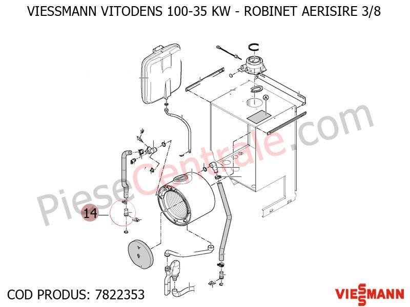 Poza Robinet aerisire 3/8 centrala termica Viessmann Vitodens 100 35 WB1B, Vitodens 100-W WB1C, Vitodens 111-W B1LB