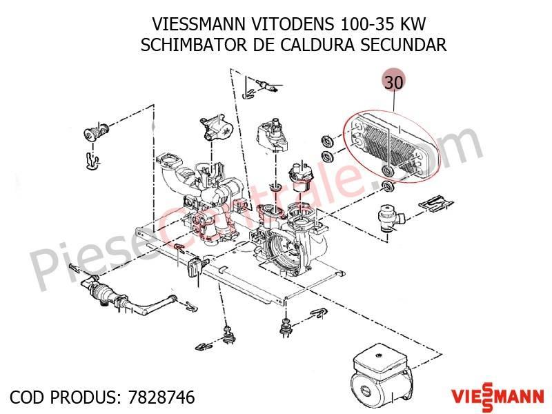 Poza Schimbator de caldura secundar centrala termica Viessmann Vitodens 100 35 WB1B