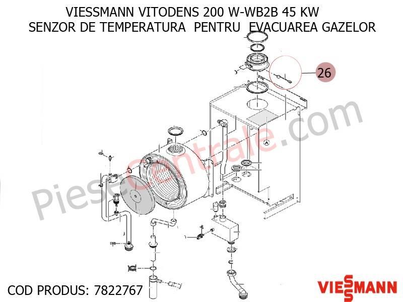 Poza Senzor temperatura pentru evacuarea gazelor centrale termice Viessmann Vitodens 100, Vitodens 200, Vitodens 300, Vitodens 100-W WB1C, Vitodens 111-W B1LB