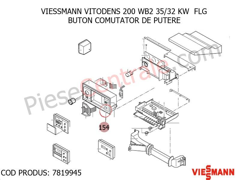Poza Buton comutator de putere centrala termica Viessmann Vitodens 200