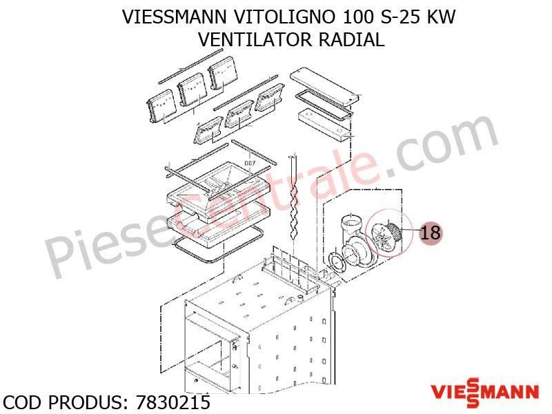 Poza Carcasa ventilatorl centrala pe lemne Viessmann Vitoligno 100 S