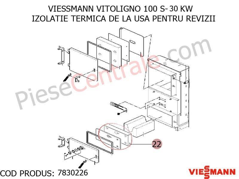 Poza Izolatie termica de la usa pentru revizii centrala pe lemne Viessmann Vitoligno 100 S 30 kw si 40 kw
