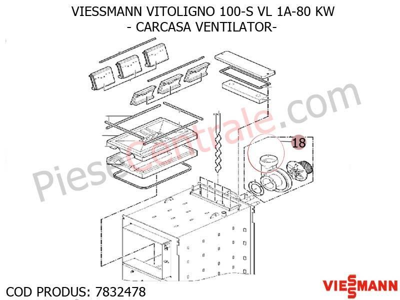 Poza Carcasa ventilator centrala pe lemne Viessmann Vitoligno 100 S VL 1A-80 KW