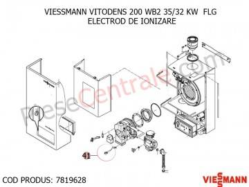 Poza Electrod ionizare centrala termica Viessmann Vitodens 200, Vitodens 333 WS3A